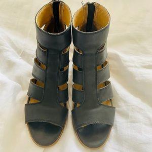 Lucky Brand Black Leather Block Heel Booties